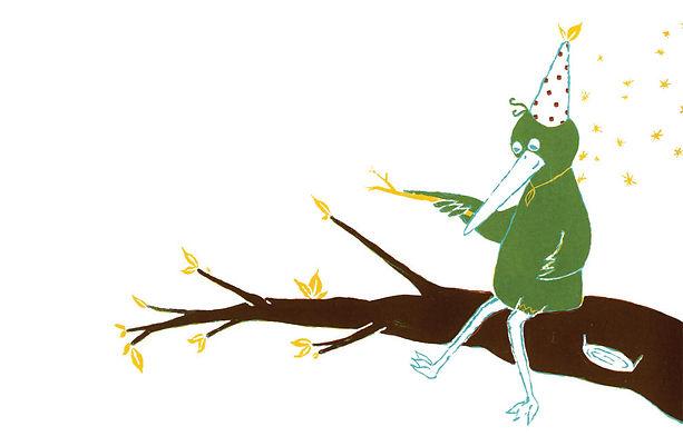 Megan Hobby Kauffman green bird branch leaves magic hat sparkle