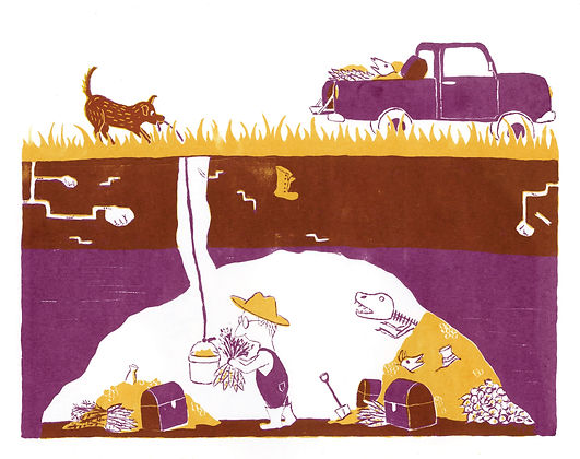 Megan Hobby Kauffman dog man treasure truck underground dig