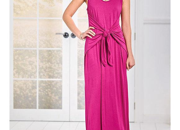 Women's Sleeveless Midi Dress with Tie Front