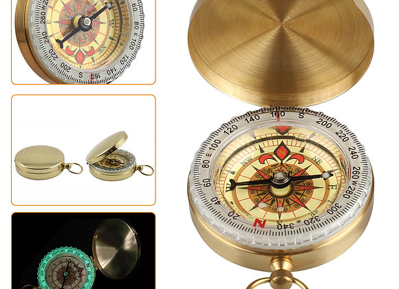 Golden Compass Watch for Directions & Sailing, Mini Compasses Brass Keychains B