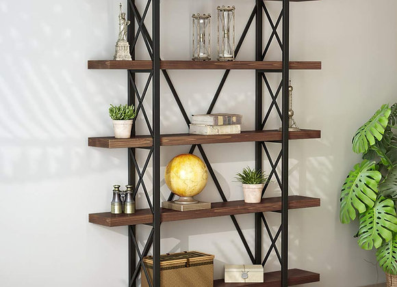 LITTLE TREE Solid Wood 5 Shelf Industrial Style Bookcase and Book Shelves, Meta