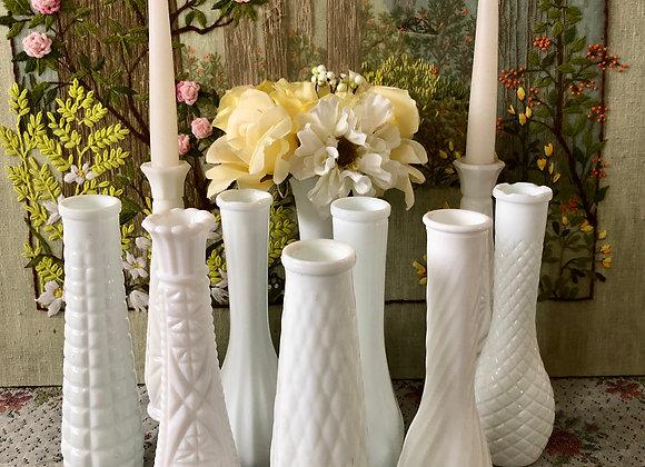 Milk Glass Vases for Flowers Vases Decor Vases Centerpiece Wedding Vases Set Wh
