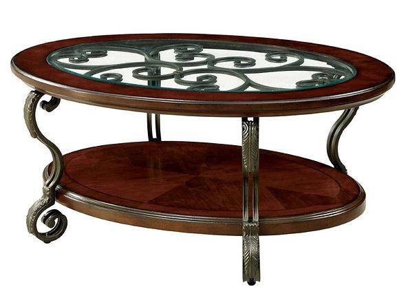 Furniture of America Azea Scrolled Leg Wood Coffee Table in Brown Cherry