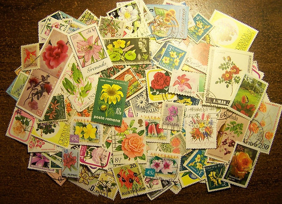 Flower Stamps - Lot of 100 Postage Stamps Featuring Flowers - Worldwide - Vinta