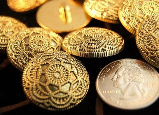 Vintage Gold Buttons Embossed Floral Metallic Gold Shank Button 5 pieces per bag