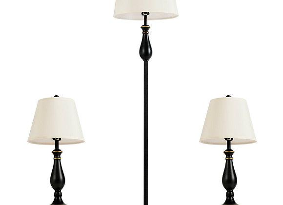 Gymax 3-Piece Lamp Set 2 Table Lamps 1 Floor Lamp Matt Black Vintage Home Bedro