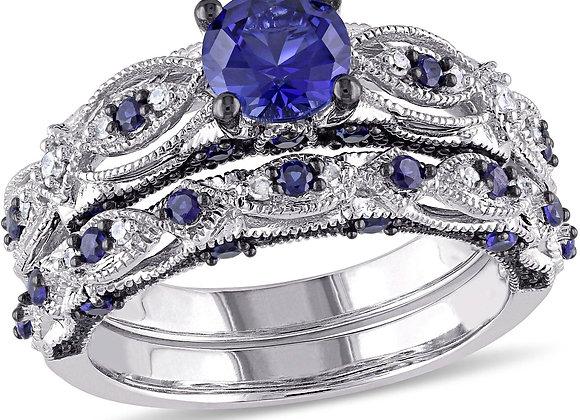 2 Carat T.G.W. Created Blue Sapphire and 1/10 Carat T.W. Diamond 10kt White Gol