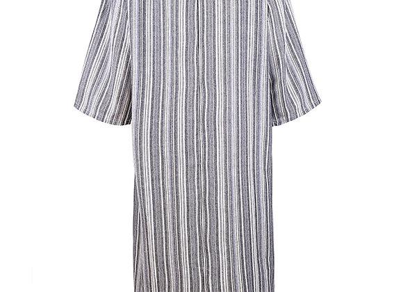 Women Plus Size Vintage Long Sleeve Loose Cotton Linen Dress