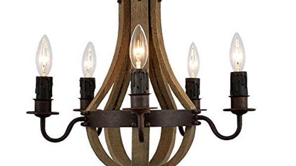 Vintage French Wood Metal Chandelier