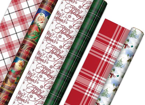 Hallmark Reversible Vintage Santa, Snowmen, Traditional Green, Red and White Pl