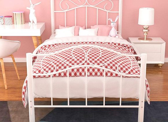 Mecor Twin XL Curved Metal Bed Frame - Princess White Platform Bed Frame with V