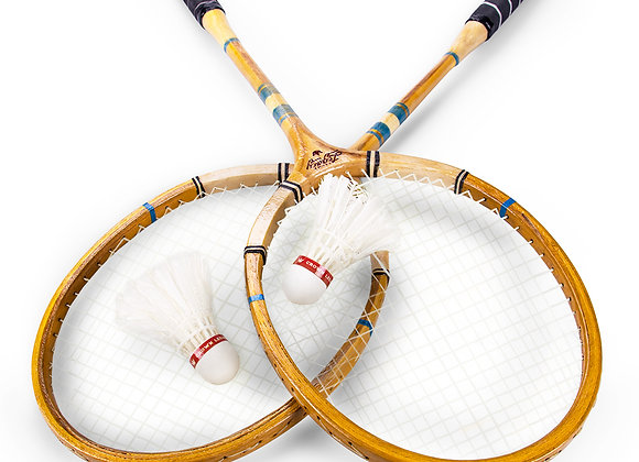 Crown Sporting Goods Vintage Wooden Badminton Set   Classic Outdoor Lawn Game F