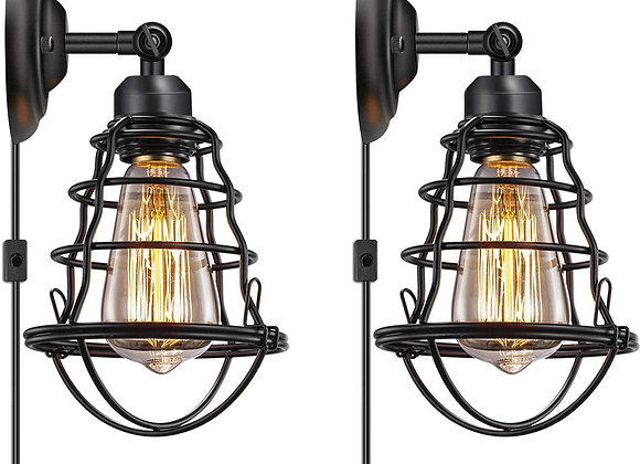 2 Packs Metal Cage Wall Light, 240° Adjustable Vintage Industrial Wall Lamps P