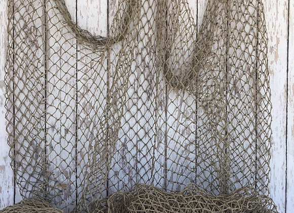 Authentic Fish Netting - 10 ft x 10 ft Knotted - Vintage Old Used Fishing Net -