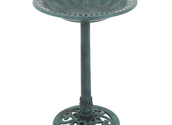 Zeny Outdoor Patio Pedestal Bird Bath - Freestanding Antique Decorative Birds F