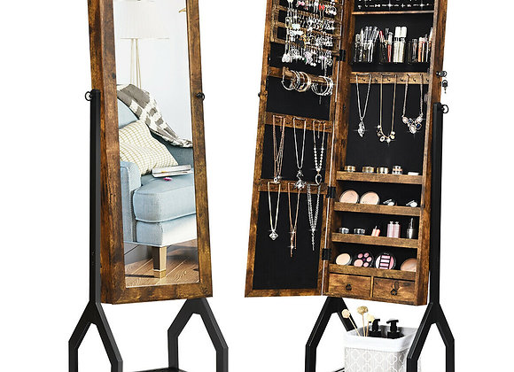 Gymax Vintage Jewelry Armoire Cabinet Mirrored Lockable Organizer With Shelf &