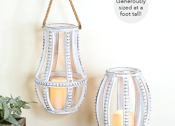Distressed Beaded LED Candleholders