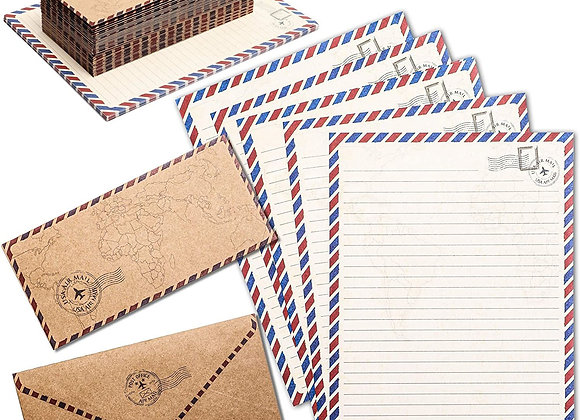 48-Pack Vintage Stationery Paper & Envelopes Letter Set, Lined Classic Airmail