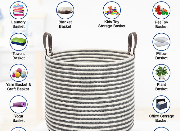 Belvedere Home Storage Basket -  Large Heavy Duty Rope Basket, Jumbo Size for L
