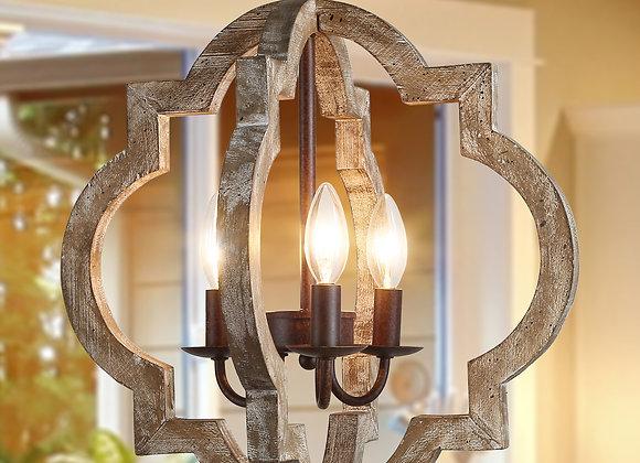 LNC Farmhouse Rustic Chandeliers 3-Lights Adjustable Height Wood Vintage Pendan