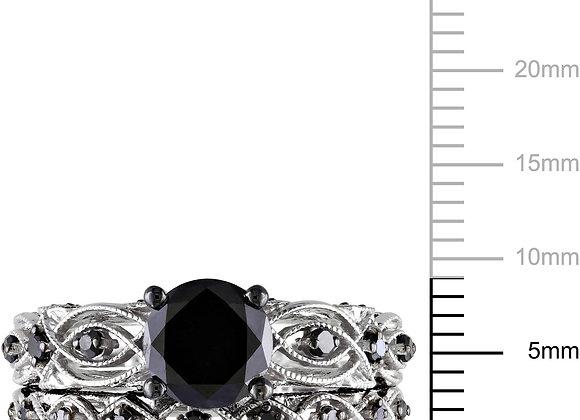 1-3/8 Carat T.W. Black and White Diamond 10kt White Gold Milgrain Design Vintag