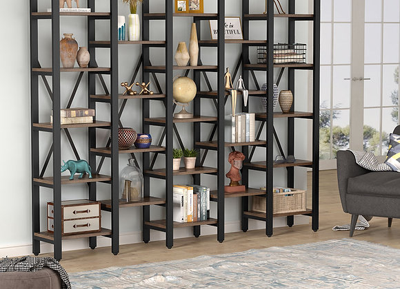 Tribesigns Rustic Super Wide 5 Tier Bookcase with 23 Shelves, 5-Shelf Etagere L