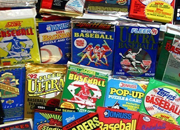 300 Unopened Baseball Cards Collection in Factory Sealed Packs of Vintage MLB B