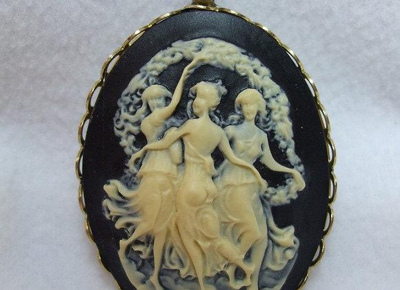Vintage Cameo Pendant Mythological Three  Graces Carved Lucite Necklace Reprodu