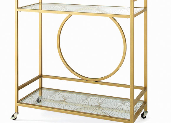 Better Homes & Gardens Nola Mid-Century Metal & Glass Bar Cart, Gold Finish