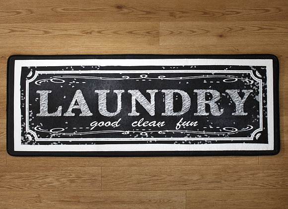 Farmhouse Style Laundry Rug with Chalkboard Look and Nonslip Backing