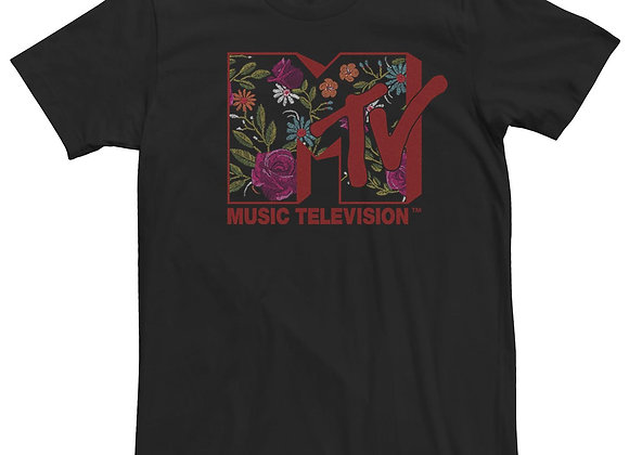 Men's MTV Vintage Pastel Flower Logo Short Sleeve Tee