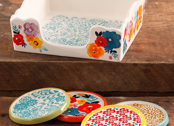 The Pioneer Woman Flea Market Stoneware Coasters & Napkin Box Set