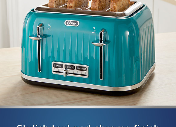 Oster 4 Slice Toaster with Textured Design and Chrome Accents, Impressions Coll