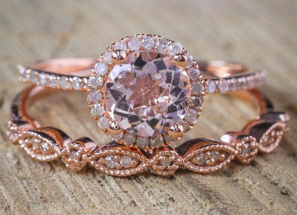 Sale on Antique Vintage Design Milgrain 2 carat Round Morganite and Diamond Hal