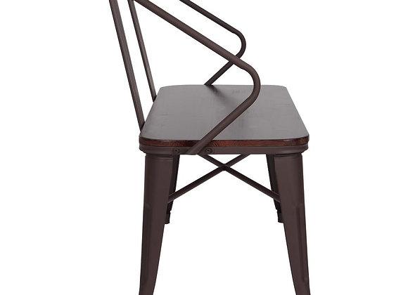 "Winado 45"" Metal Bench w/Wood Seat, Industrial Vintage Mid-Century Dining Bench"