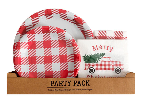 Holiday Time 64 Piece Red/White Plaid Foil Embellished Red Truck Holiday Tablew