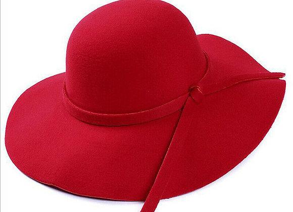 Vintage Women Wide Brim Floppy Warm Fashion Felt Hat Trilby Bowler Cool