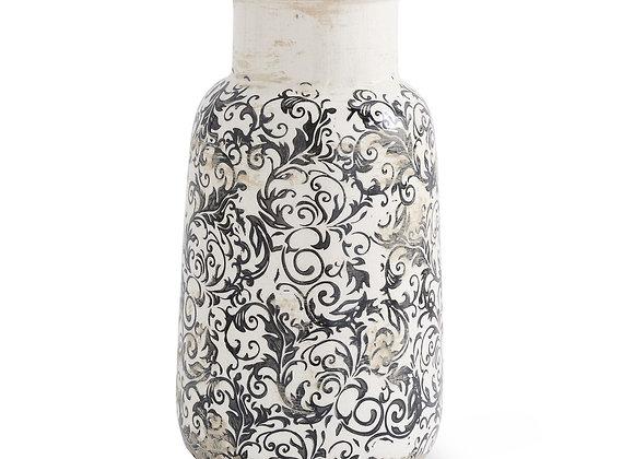 10 Inch Vintage Black and White Ceramic Vase, Distressed Rustic Elegant Weather