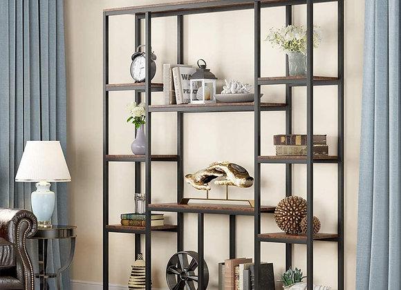Tribesigns Bookshelf, Industrial 12-Open Shelf Etagere Bookcase, Rustic Vintage