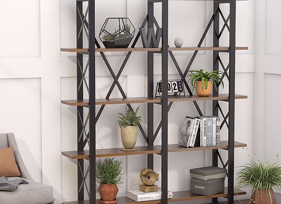 Double Wide 5-Shelf Bookcase, Etagere Large Open Bookshelf Rustic Industrial St