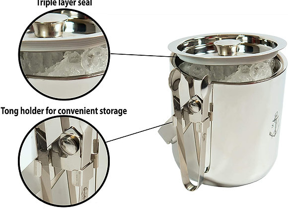 Stock Harbor Insulated Stainless Steel Ice Bucket with Tongs Silver