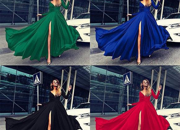 New Summer Boho Women Vintage Elegant Long Sleeve Dress Evening Party Split Bea