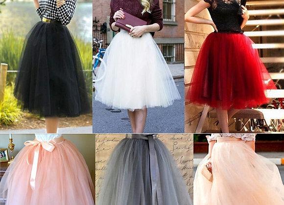 Fashion New 7 Layer Tulle Skirt Womens Vintage Dress 50s Rockabilly Tutu Pettic