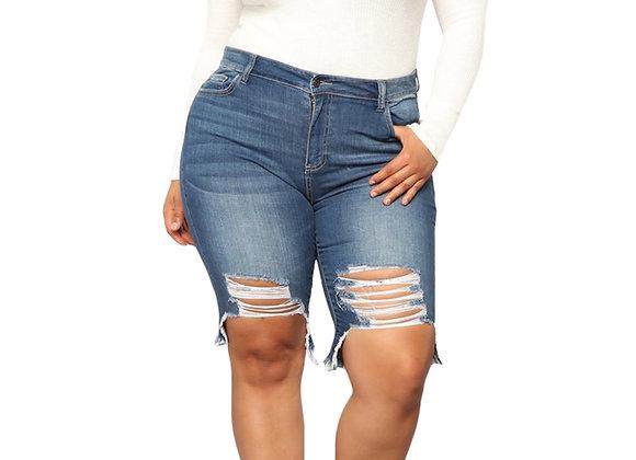 Women Plus Size Skinny Denim Shorts Jeans Ladies Ripped Vintage High Waist Stre