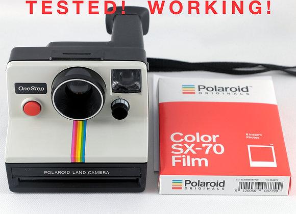 Vintage Polaroid OneStep SX-70 White Rainbow Stripe Instant Camera with One Pac