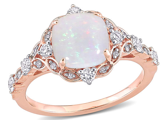 1-4/5 Carat T.G.W. Opal, White Sapphire and Diamond-Accent 10kt Rose Gold Vinta
