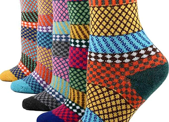 Coolmade 5Pack Womens Vintage Winter Soft Warm Thick Cold Knit Wool Crew Socks,