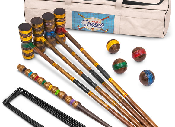 Crown Sporting Goods Vintage Wood Premium Croquet Set, 4-player Outdoor Backyar