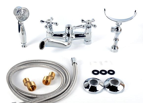Bath Tub Bathroom Vintage Faucet 2 handles Brass Clawfoot Hand Shower Sprayer