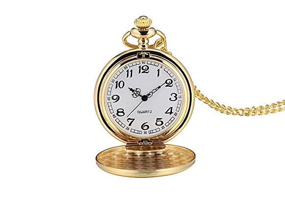 Smooth Vintage Pocket Watch with Chain